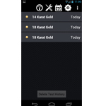 Auracle Gold Tester AGT-2 Test History Screen On Android Phone
